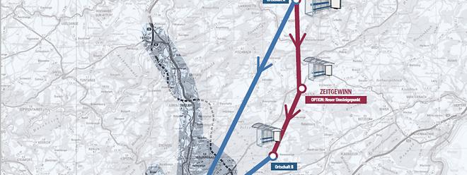 Warum umständlich, wenn es auch einfacher geht: Wer derzeit von der Ortschaft A in die Nachbargemeinde B fahren will, muss den Umweg über Luxemburg-Stadt akzeptieren (blaue Linie).