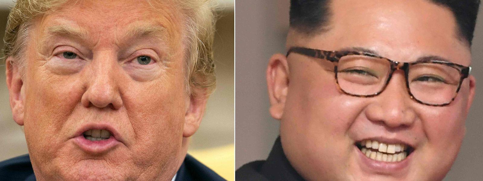 Donald Trump und Kim Jong Un (r.)