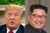 "(FILES) (COMBO) This combination of file pictures created on July 12, 2018 shows US President Donald Trump speaking to the press in the Oval Office at the White House in Washington, DC, on June 27, 2018, and North Korea's leader Kim Jong Un (R) at the start of the historic US-North Korea summit, at the Capella Hotel on Sentosa island in Singapore on June 12, 2018. - US President Donald Trump said November 7, 2018 he hoped to meet again early next year with North Korean leader Kim Jong Un but that he was in ""no rush"" to negotiate.In a wide-ranging news conference after congressional elections, Trump said he was willing to accede to North Korea's key demand of easing sanctions ""but they have to be responsive to us."" (Photos by NICHOLAS KAMM and SAUL LOEB / AFP)"