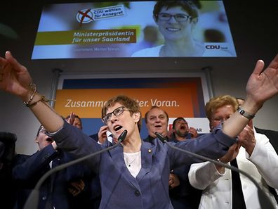 Annegret Kramp-Karrenbauer, State Minister-President and top candidate of the Christian Democratic Union Party, reacts after the Saarland state elections in Saarbruecken, Germany.