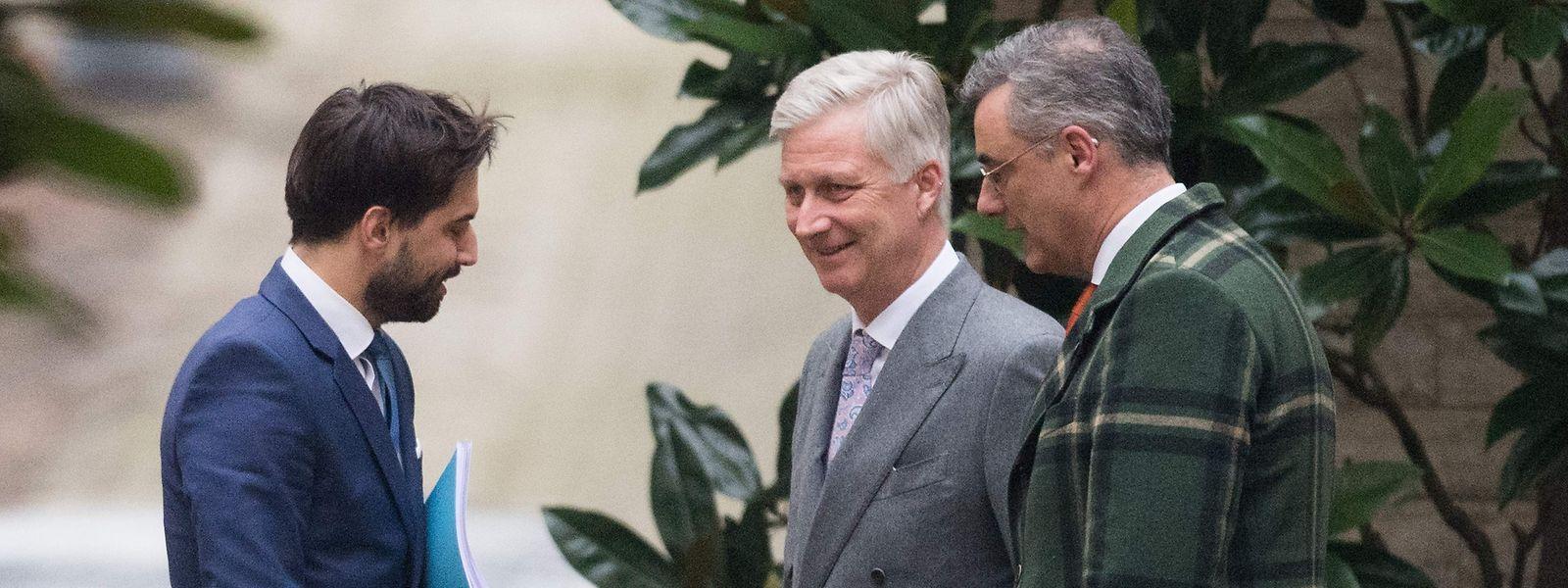 Georges-Louis Bouchez, le roi Philippe et Joachim Coens ont discuté durant quatre heures.
