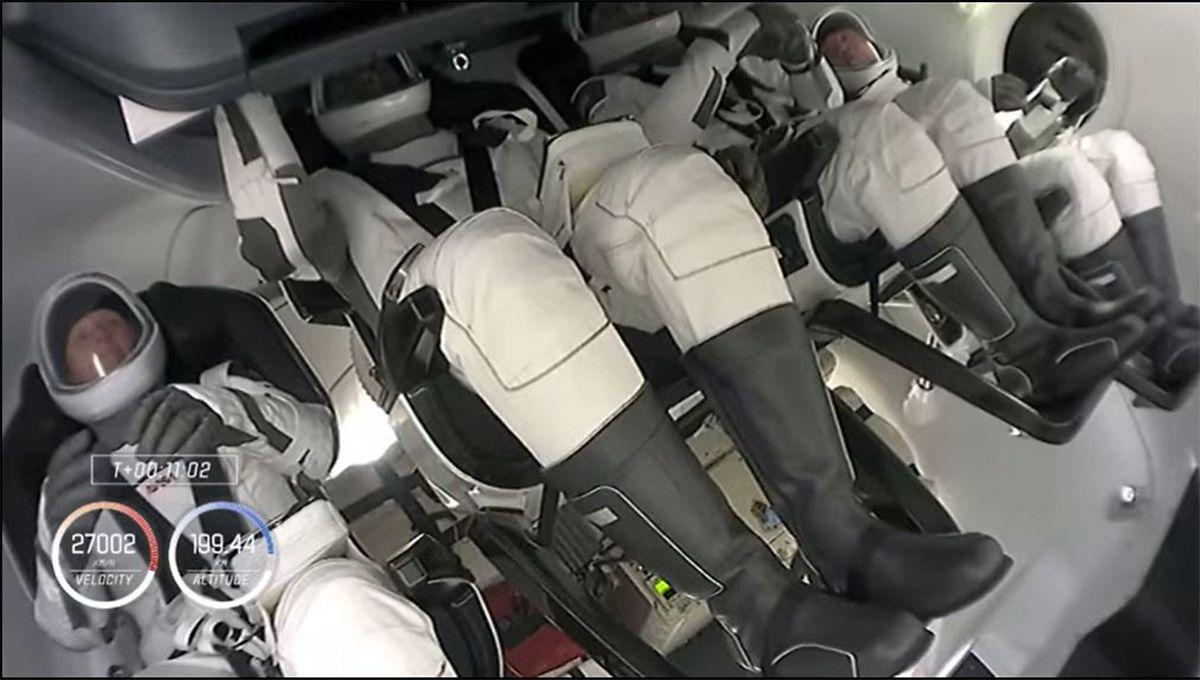 Die Crew der SpaceX nach dem Start.