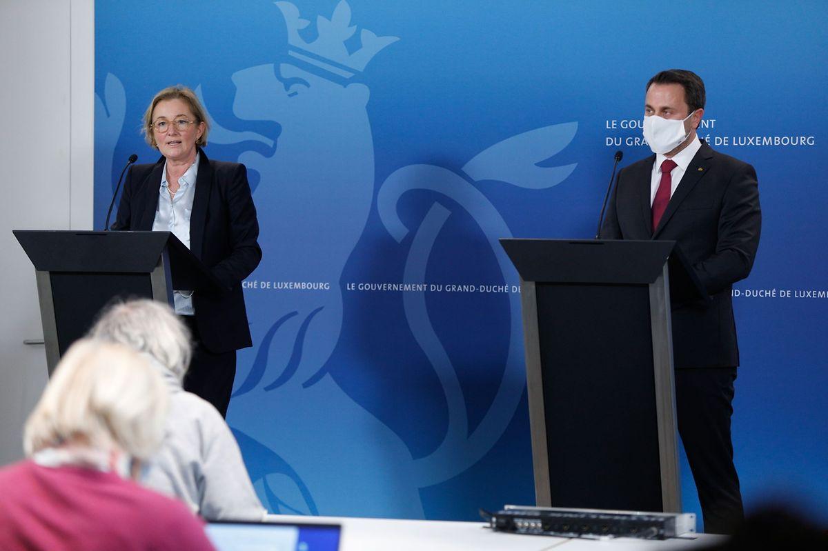 Health Minister Paulette Lenert (L) and Prime Minister Xavier Bettel on Tuesday Photo: Anouk Antony