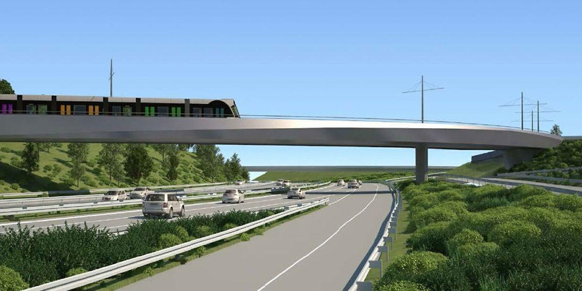 Un tout nouveau pont devra enjamber l'A1, l'autoroute de Trèves, d'ici quatre ans, pour permettre au tram de relier Luxexpo à son terminus devant l'aéroport du Findel.