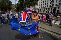 (FILES) In this file photo taken on August 31, 2019 An anti-Brexit demonstrator whirls an EU and Union Flag during a demonstration against the British government's move to suspend parliament in the final weeks before Brexit outside Downing Street in London on August 31, 2019. - Despite the prestige of Oxford and Cambridge and other top universities, Britain will be less attractive after Brexit, EU students warn, with fees set to soar and legal tangles still not ironed out. (Photo by Niklas HALLE'N / AFP)