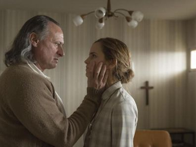 Actors from Florian Gallemberger's film Colonia Dignidad, left Mikael Nyqvist and right  Emma Watson