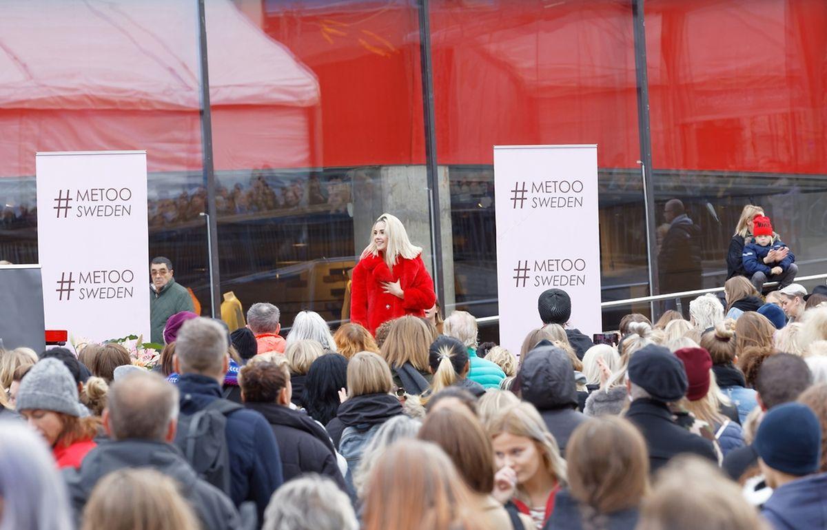 Manifestation de soutien aux victimes d'agressions sexuelles à Stockholm le 22 octobre