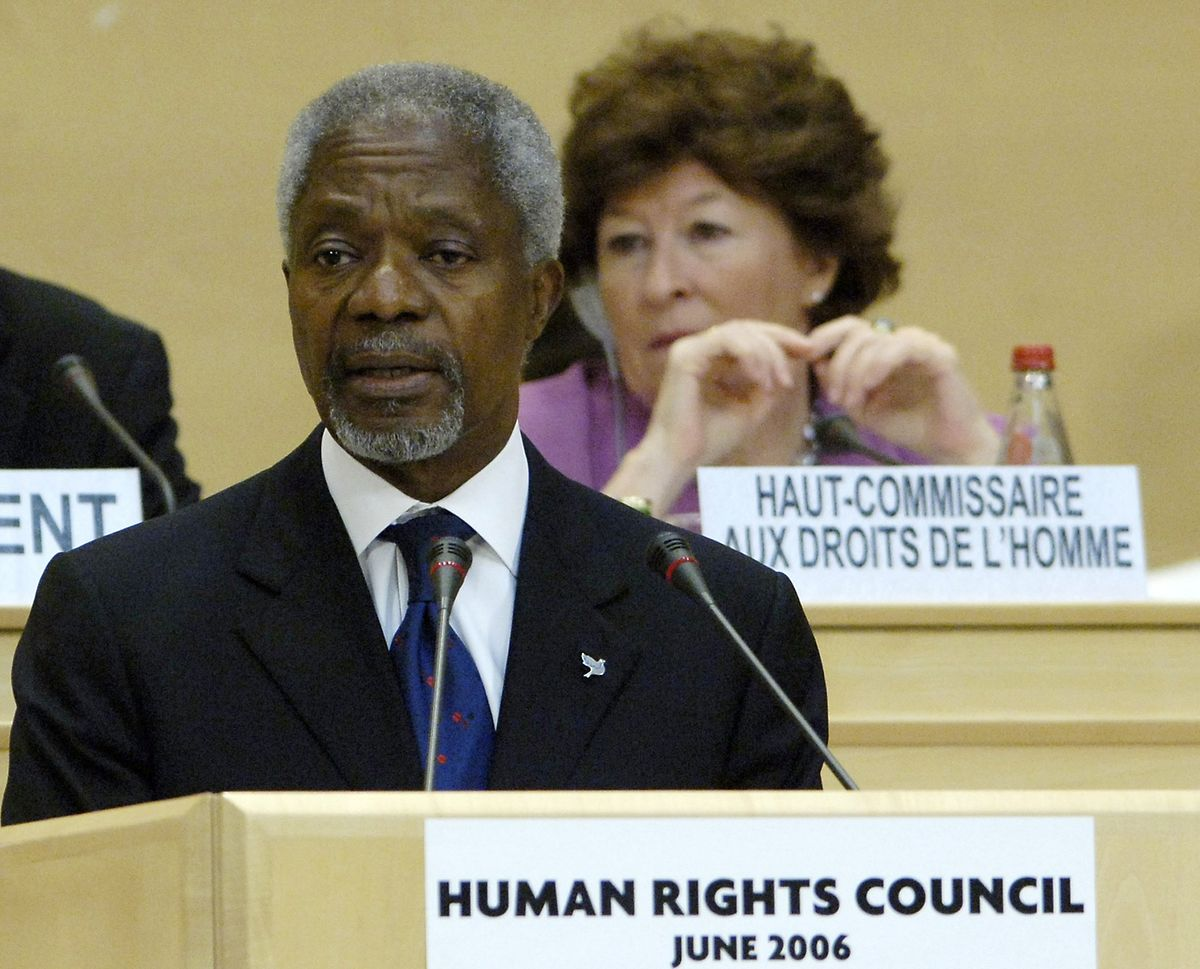 Der frühere UN-Generalsekretär Kofi Annan bei der ersten Sitzung des Menschenrechtsrats am 19. Juni 2006  in Genf.