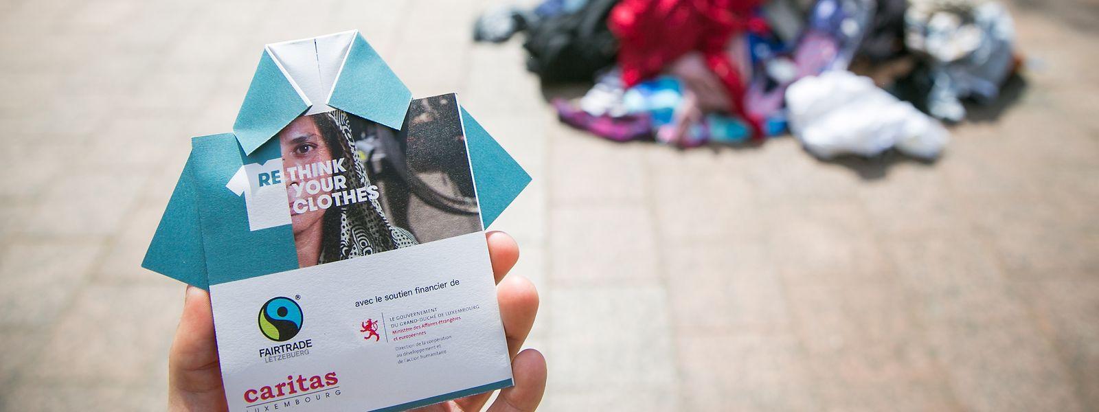 """Im Rahmen der Kampagne """"Rethink your Clothes"""" erinnert die Sensibilisierungsaktion auf der Plëss an die Opfer der Rana-Plaza-Katastrophe."""