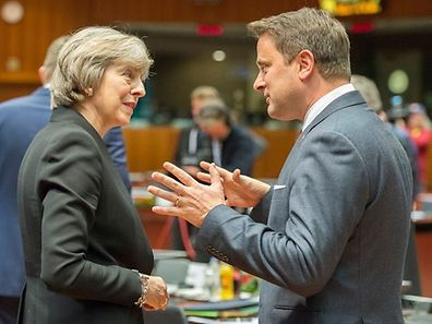 Theresa May, Premier ministre britannique et Xavier Bettel, son homologue luxembourgeois.