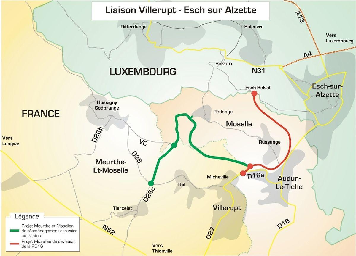 C'est le morceau de voie rapide tracée en rouge qui sera inauguré vendredi. Plus le tunnel de Belval (qui n'apparait pas sur ce plan) qui sera à terme relié directement à l'A4.