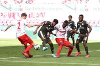 Mainz' Dutch defender Jeremiah St Juste (2nd L) is challenged by Cologne's German defender Benno Schmitz (L) and Cologne's Colombian forward Jhon Cordoba (3rd L) during the German first division Bundesliga football match FC Cologne v Mainz 05 on May 17, 2020 in Cologne, western Germany as the season resumed following a two-month absence due to the novel coronavirus COVID-19 pandemic. (Photo by Lars Baron / POOL / AFP) / DFL REGULATIONS PROHIBIT ANY USE OF PHOTOGRAPHS AS IMAGE SEQUENCES AND/OR QUASI-VIDEO