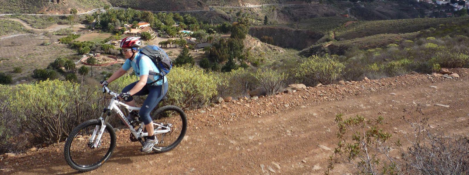 Ein Mountainbiker bei San Bartolomé auf Gran Canaria.
