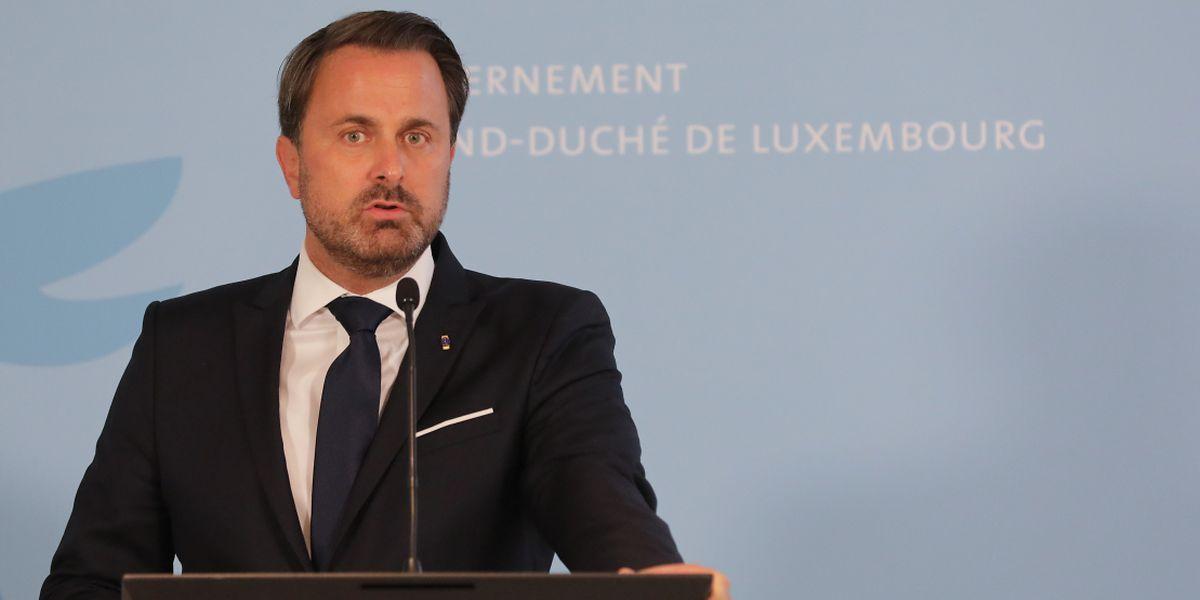 O primeiro-ministro, Xavier Bettel, durante a conferência de imprensa desta sexta-feira, depois do primeiro Conselho de Ministros após as férias de verão.