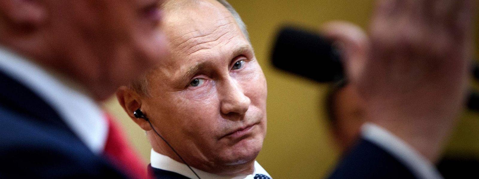 Putin bei der gemeinsamen Pressekonferenz mit Trump.