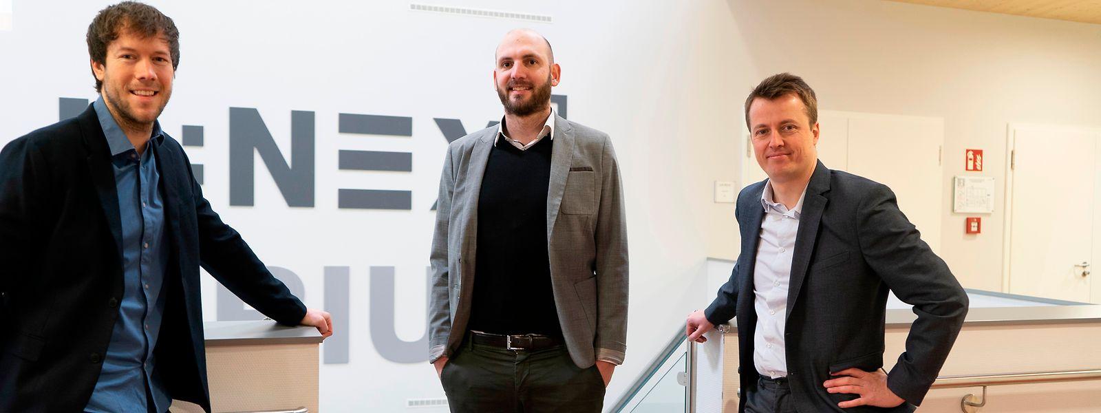 """Das Team hinter dem Studiengang """"Internationales Sportmanagement"""": Mathieu Marlier, Sebastian Merten und Mathieu Winand (v.l.n.r.)."""