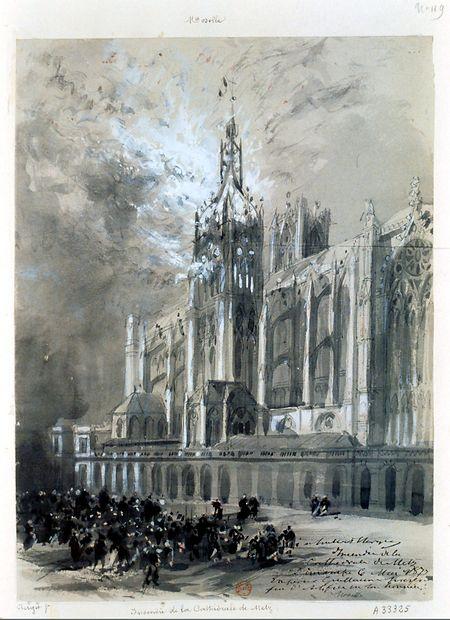 """""""Incendie de la Cathedrale de Metz, Dimanche 6 mai 1877"""", Kreidezeichnung von Hubert de Clerget (1877)."""