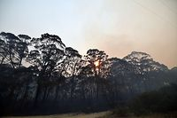 Smoke from a bushfire fills the sky as the sun sets in Dargan, some 130 kilometres northwest of Sydney on December 18, 2019. - Australia this week experienced its hottest day on record and the heatwave is expected to worsen, exacerbating an already unprecedented bushfire season, authorities said on December 18. (Photo by SAEED KHAN / AFP)