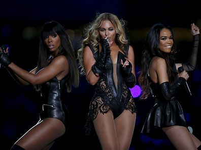 Beyonce (C) and Destiny's Child perform during the half-time show of the NFL Super Bowl XLVII football game in New Orleans, Louisiana on February 3, 2013. REUTERS/Jeff Haynes/File Photo