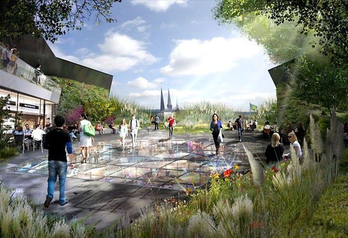 """Le """"Sky Garden"""" implanté sur la toiture du Department Store -où doit ouvrir un restaurant de 1.000 m2- sera accessible à tout le monde et offrira une belle vue sur le Sud-Ouest de Luxembourg."""