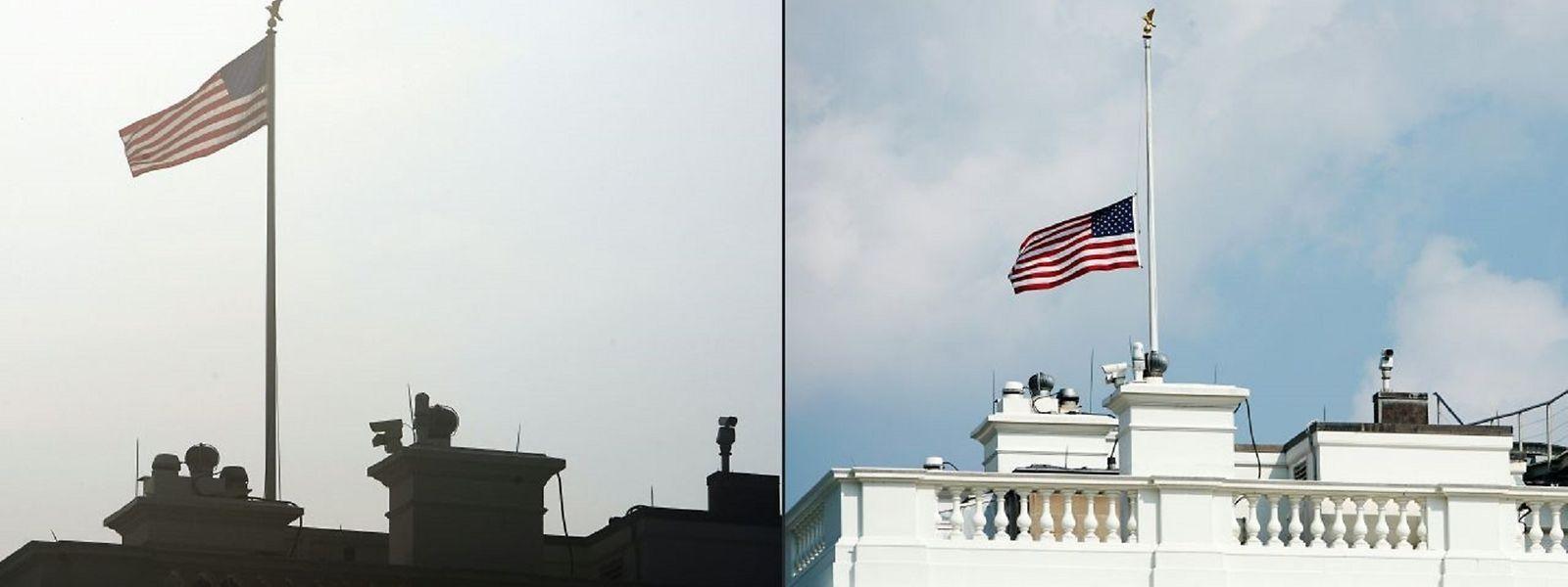 Halbmast oder nicht? Das Weiße Haus war sich am Montag uneins. Zurzeit ist die Fahne wieder unten.