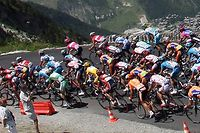 Briancon, FRANCE: The pack rides in the mountains during the ninth stage of the 94th Tour de France cycling race between Val d'Isere and Briancon, 17 July 2007.   AFP PHOTO / FRANCK FIFE (Photo credit should read FRANCK FIFE/AFP/Getty Images)