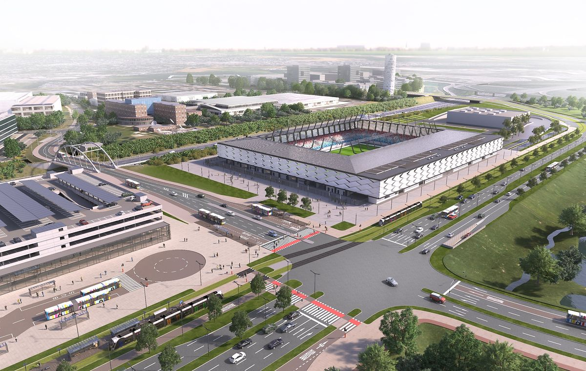 In etwa so soll das neue Fußballstadion aussehen. Der Standort stimmt auf der Illustration noch nicht ganz.