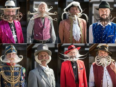 (COMBO) This combination of pictures created on April 30, 2017 competitors posing before a beard and moustache competition at the Ecomusee d'Alsace in Ungersheim on April 30, 2017.  / AFP PHOTO / Sebastien Bozon AND SEBASTIEN BOZON