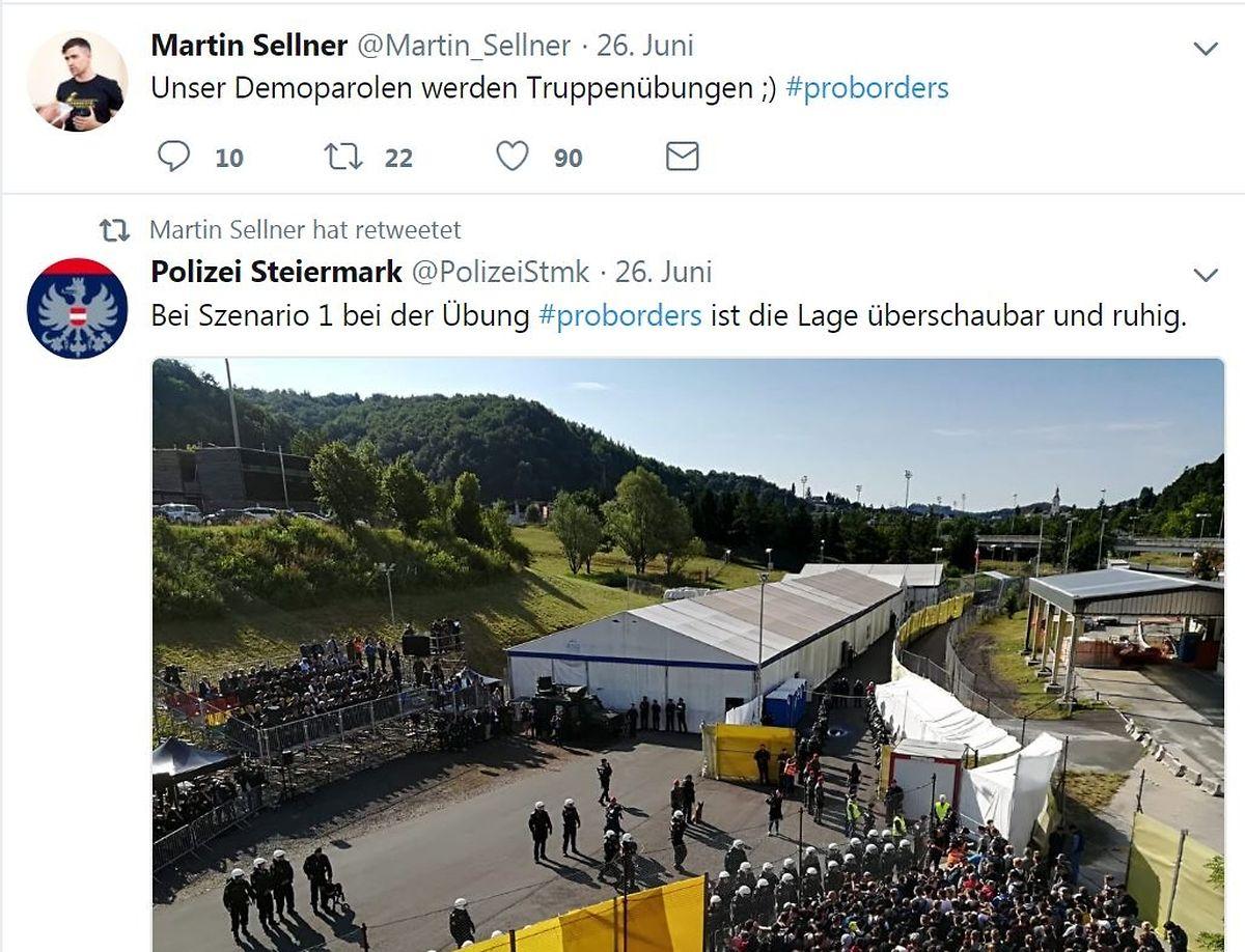 """Wasser auf die Mühlen der so genannten """"Identitären Bewegung"""": der Name """"Pro Borders""""."""