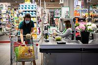 Supermarktkasse Cactus Howald - Wie verändert Corona dauerhaft unser Konsumverhalten - Foto : Pierre Matgé/Luxemburger Wort