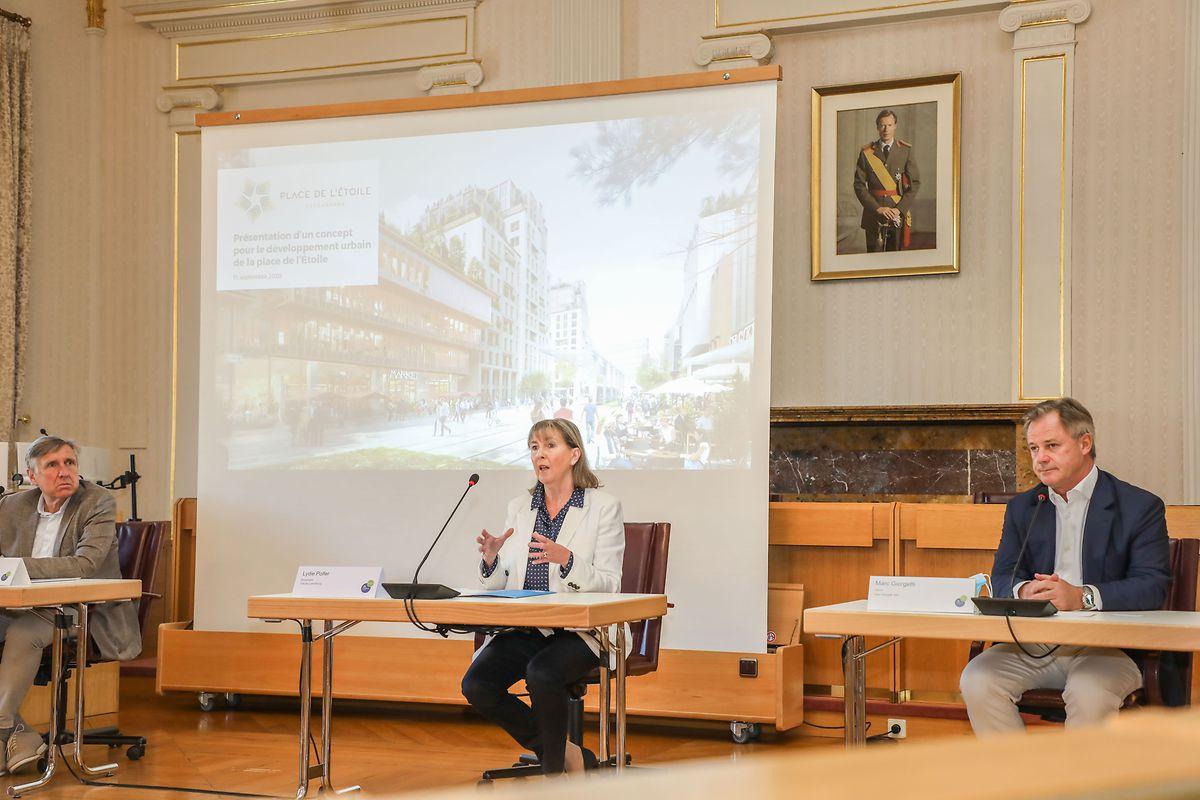 Minister François Bausch, Bürgermeisterin Lydie Polfer und Unternehmer Marc Giorgetti (v.l.n.r.) während der Präsentation.