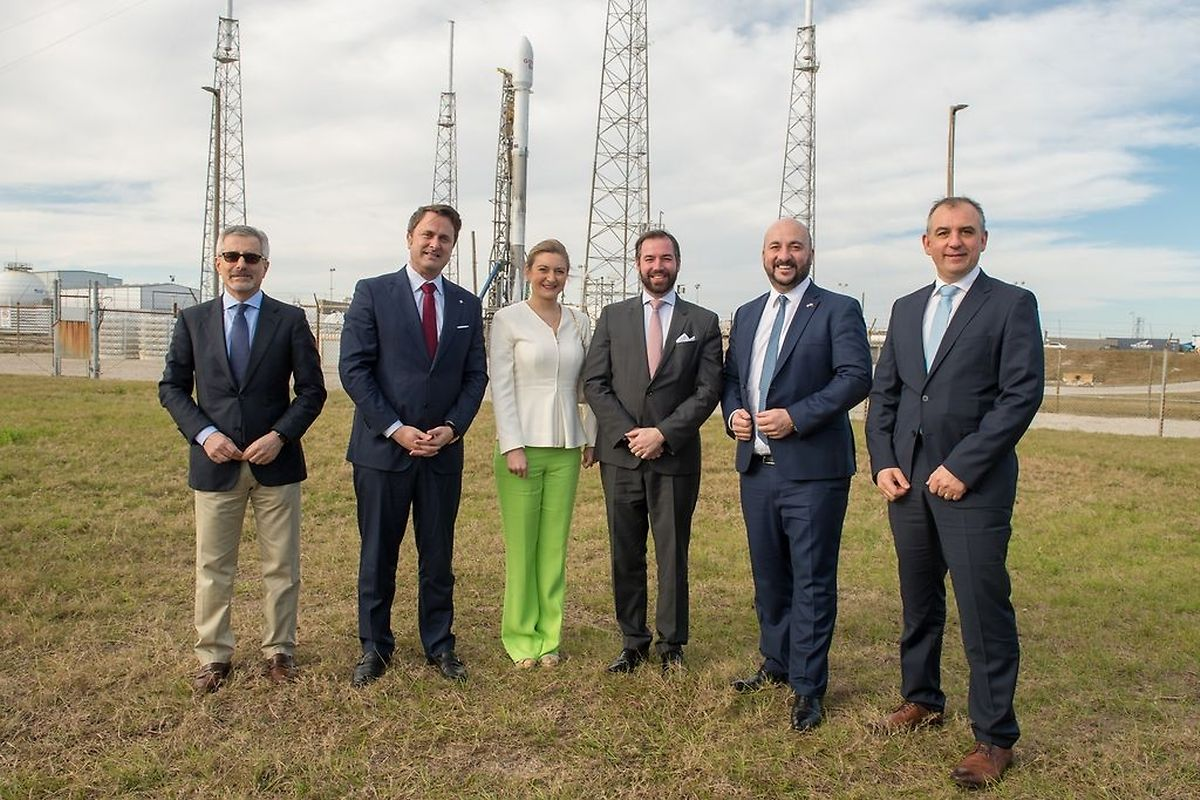 From left to right: Karim Michel Sabbagh - CEO of SES, Xavier Bettel - PM, Princess Stephanie, Prince Guillaume, Étienne Schneider - Vice PM, Patrick Biewer - general director of GovSat (SIP)