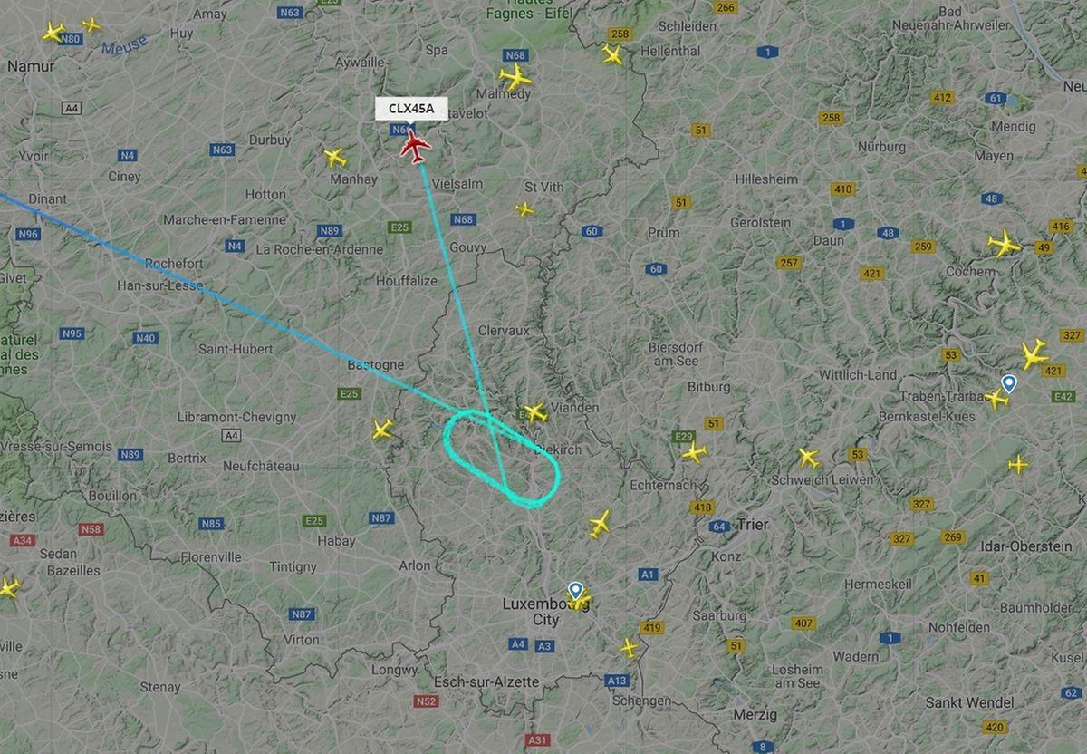 On voit ici le vol Cargolux en provenance de New York finalement dérouté