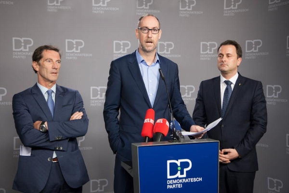 Gilles Baum en 2015 aux côtés de Xavier Bettel et Eugène Berger. «J'ai commencé au sein des jeunes démocratiques il y a plus de 20 ans avec Xavier Bettel»
