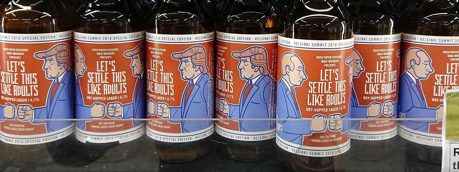 """""""Let's Settle this like adults"""" steht auf dem Label des Lagers. Die Präsidenten zeigen sich aber nicht die Fäuste sondern sie spielen Schnick, Schnack, Schnuck."""