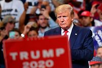 US President Donald Trump looks on during a rally at the Amway Center in Orlando, Florida to officially launch his 2020 campaign on June 18, 2019. (Photo by MANDEL NGAN / AFP)
