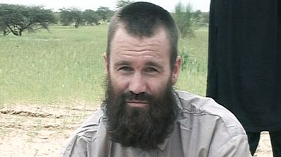 This image grab released by Al-Jazeera television on August 21, 2012 shows part of a video in which Swede Johan Gustafsson, who was taken captive by the Qaida-linked Al-Din movement, appears in an undisclosed location in Mali.