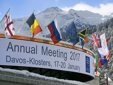 A photo shows the Congress Centre on the eve of the opening day of the World Economic Forum, on January 16, 2017 in Davos. Inequality will be among the issues topping the agenda as the world's political and business elite meet in Davos from January 15 to 18, when 3,000 people will gather for the annual meeting of the World Economic Forum.  / AFP PHOTO / FABRICE COFFRINI