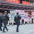 "Police respond to a reported explosion at the Port Authority Bus Terminal on December 11, 2017 in New York. Four people were injured Monday in the blast that rocked a subway station in the heart of Manhattan, in what the city's mayor said was an ""attempted terrorist attack."" The blast -- which took place in the station at the Port Authority bus terminal, not far from New York's iconic Times Square -- sparked commuter panic and travel disruptions.   / AFP PHOTO / Bryan R. Smith"