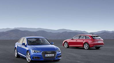 Enthüllt: Die Audi A4 Limousine (l) und der Avant (r) feiern ihr Debüt auf der IAA in Frankfurt vom 17. bis 27. September.