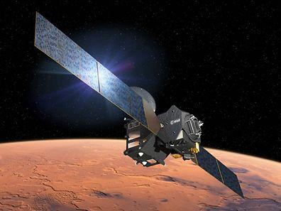 Diese Zeichnung zeigt das Testmodul Schiaparelli bei der Abtrennung vom Raumschiff.