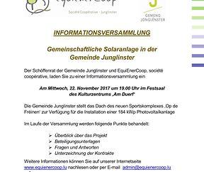 Informationsversammlung - Gemeinschaftlech Solaranlag zu Jonglënster