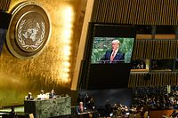 NEW YORK, NY - SEPTEMBER 24: U.S. President Donald Trump is shown on a monitor during his speech at the United Nations (U.N.) General Assembly on September 24, 2019 in New York City. World leaders are gathered for the 74th session of the UN amid a warning by Secretary-General Antonio Guterres in his address yesterday of the looming risk of a world splitting between the two largest economies - the U.S. and China.   Stephanie Keith/Getty Images/AFP == FOR NEWSPAPERS, INTERNET, TELCOS & TELEVISION USE ONLY ==