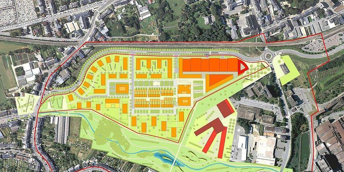 """Das """"Plateau du funiculaire"""" liegt entlang der Umgehungsstraße des Zentrums von Differdingen. Hier soll das neue Lyzeum mit angegliederter internationaler Schule entstehen."""