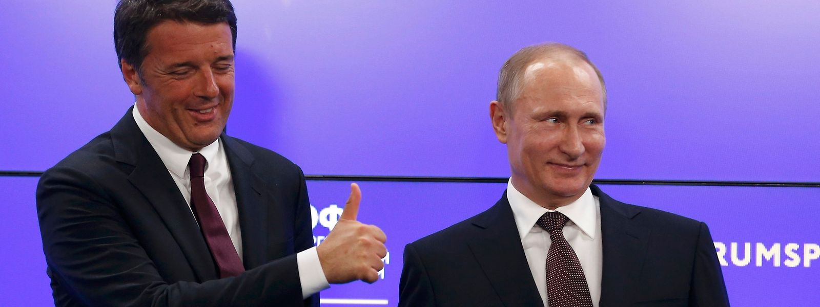 Matteo Renzi und Wladimir Putin beim St. Petersburg International Economic Forum 2016.