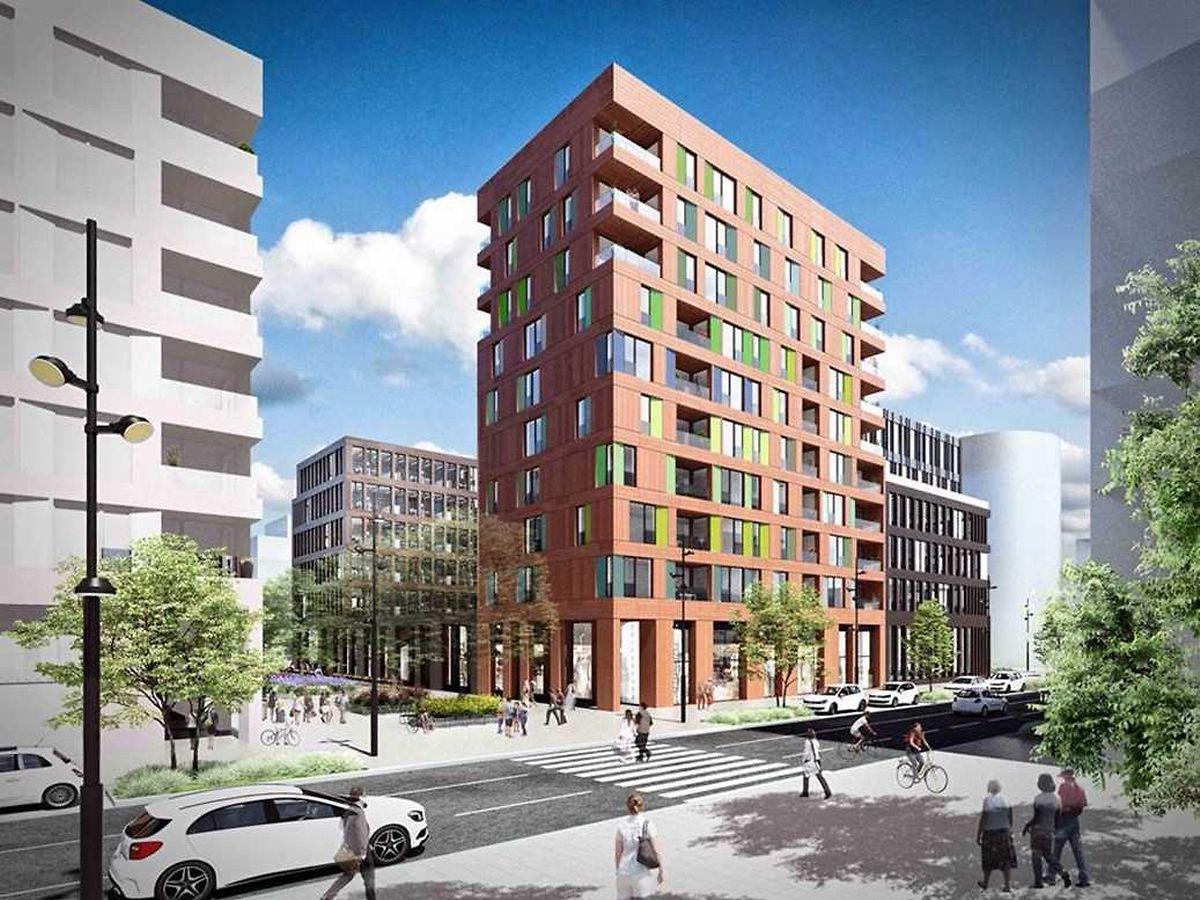 Etwa die Hälfte des Gebäudes ist für Wohnungen bestimmt, die andere für Büroräume.