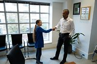 """Former US President Barack Obama (R) meets with Swedish Environmental activist Greta Thunberg at the Obama Foundation headquarter in Washington DC on September 16, 2019. - Thunberg will attend the  Youth Climate Summit at the UN in New York on September 21, followed by the UN Climate Action Summit on September 23 convened by the Secretary-General Antonio Guterres to find ways for countries to reduce their greenhouse gas emissions in line with the Paris Agreement. (Photo by - / various sources / AFP) / RESTRICTED TO EDITORIAL USE - MANDATORY CREDIT """"AFP PHOTO / THE OBAMA FOUNDATION"""" - NO MARKETING - NO ADVERTISING CAMPAIGNS - DISTRIBUTED AS A SERVICE TO CLIENTS"""