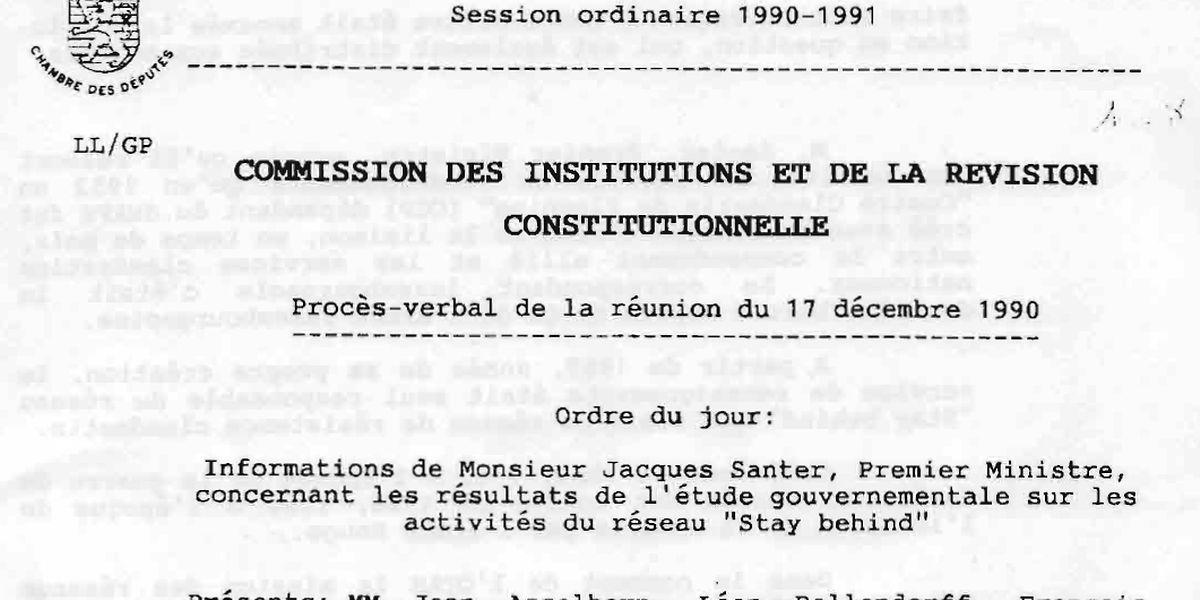 """Der Bericht aus Jahr 1990 zu dem Luxemburger """"Stay behind""""-Netzwerk."""