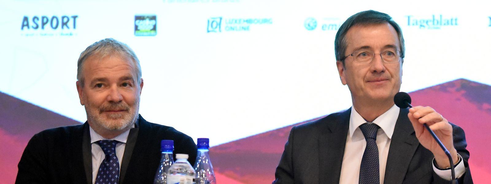 Sportminister Dan Kersch (l., hier neben COSL-Präsident André Hoffmann) nahm in seiner neuen Funktion erstmals am COSL-Kongress teil.