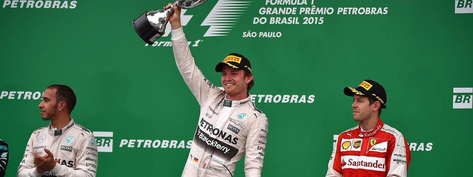 Nico Rosberg (M.) war in Brasilien nicht aufzuhalten.